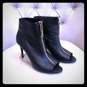 Burberry front zip ankle booties